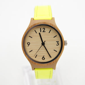 Fashion Leather Bamboo Watch