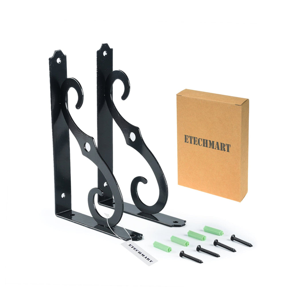 5 Inches Metal Shelf Brackets Black Pack of 2