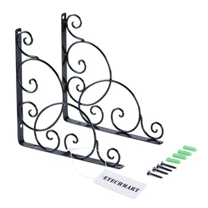 Decorative Wall Shelf Brackets 8 Inch Black / White