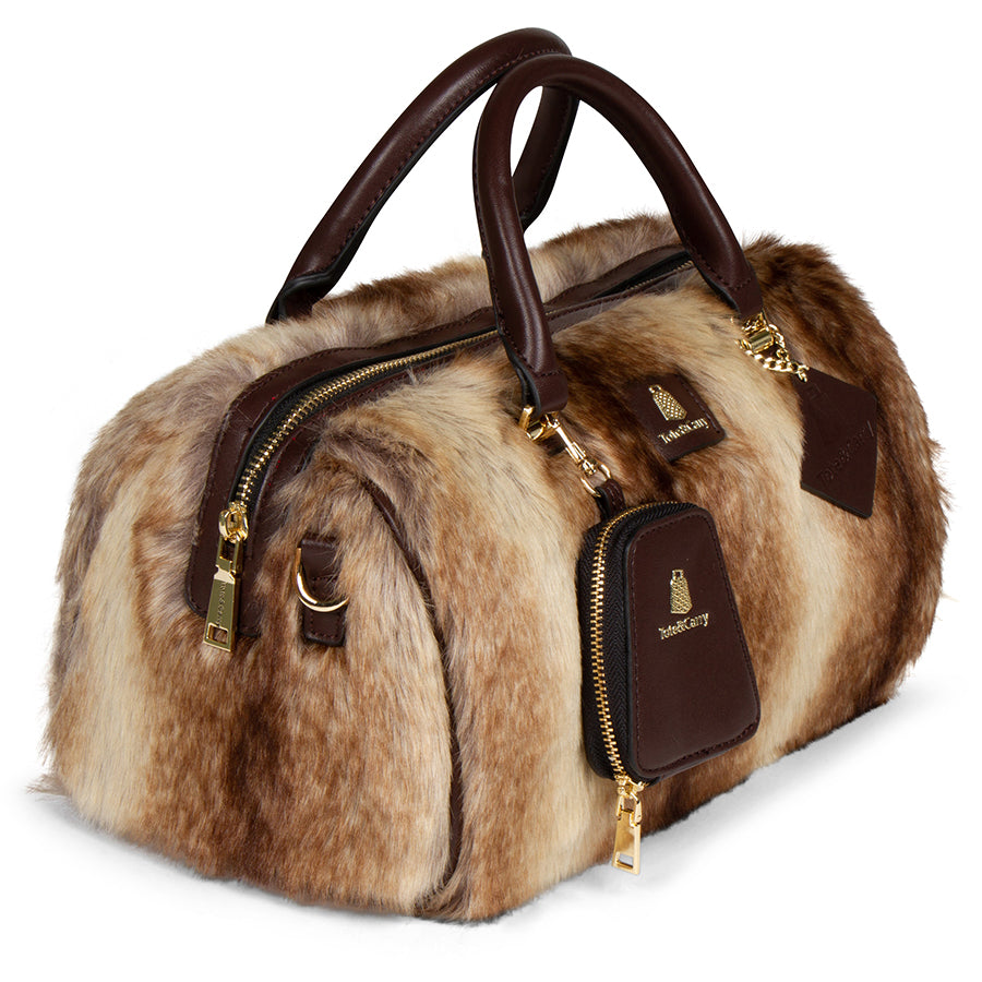 BROWN CHINCHILLA FUR PURSE