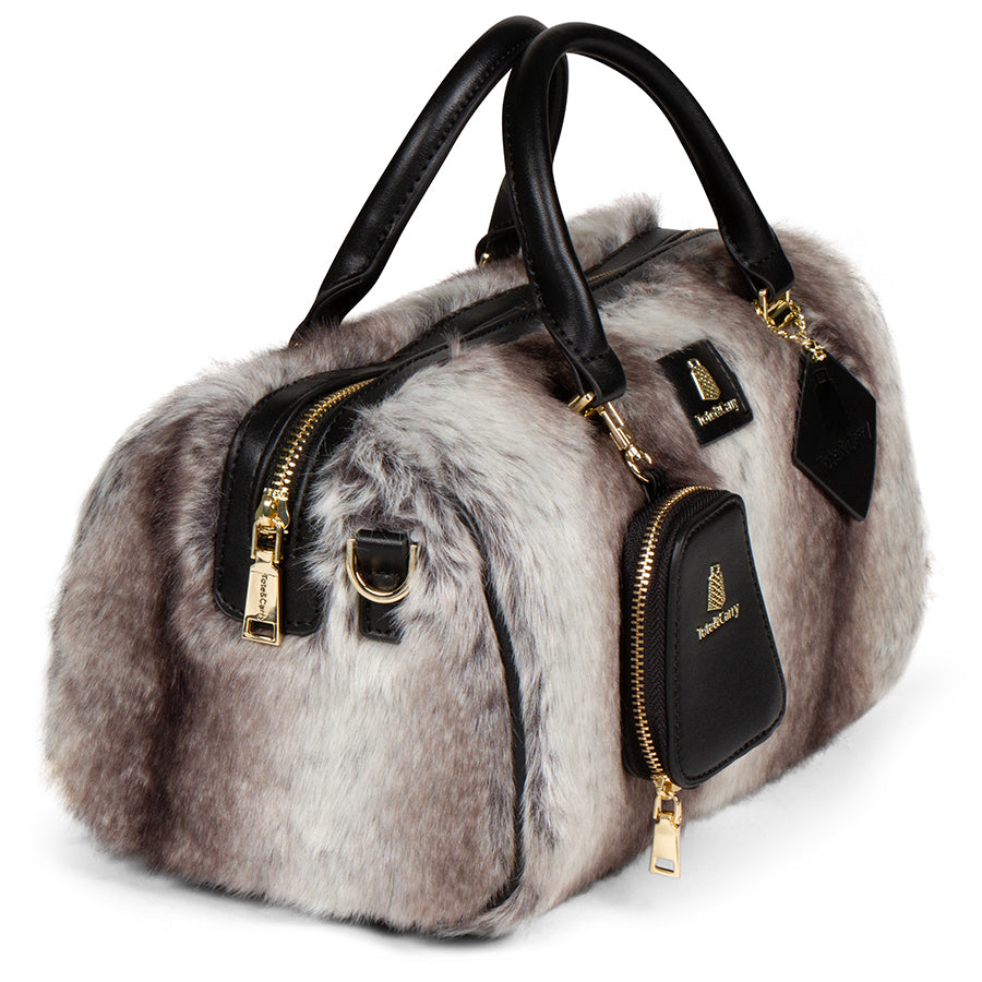 GREY CHINCHILLA FUR PURSE