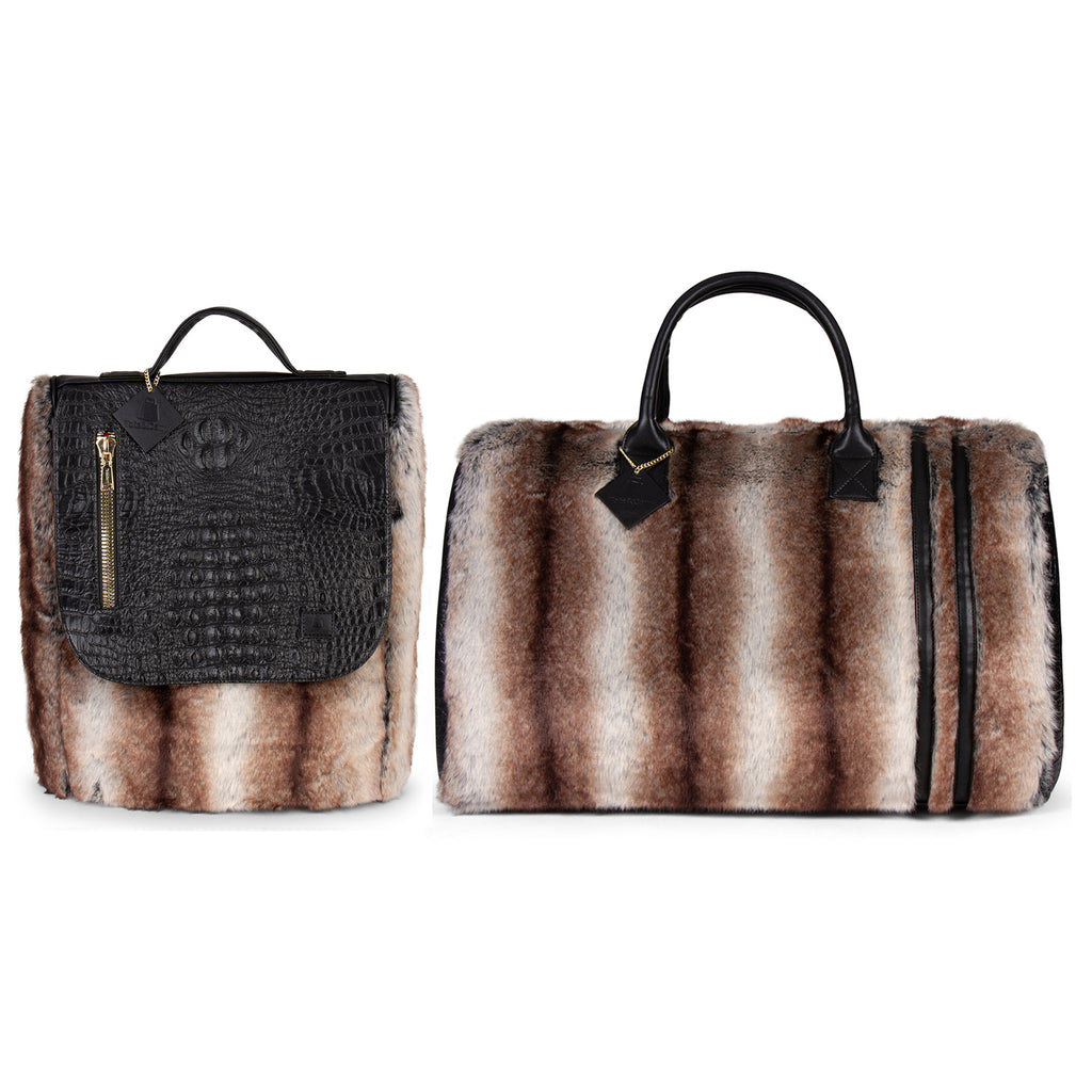 Brown Apollo III Chinchilla Fur Travel Set