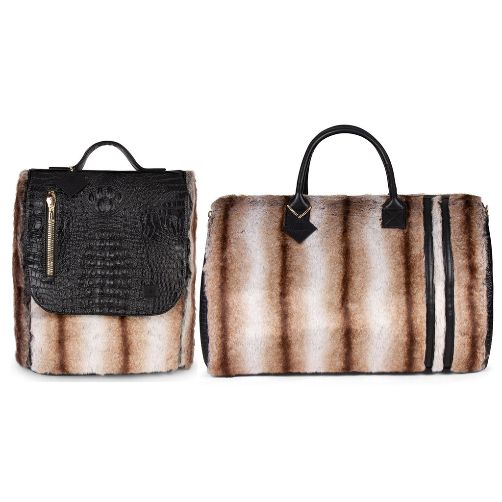 Caramel Apollo III Chinchilla Fur Travel Set