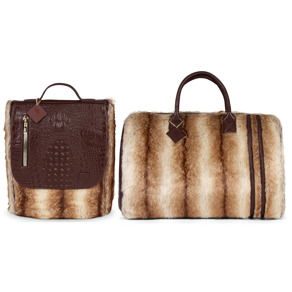 Coffee Apollo III Chinchilla Fur Travel Set