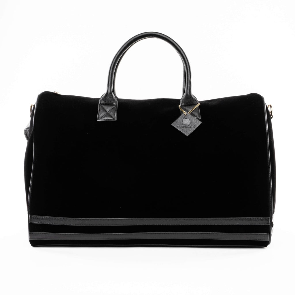 Black Velour Duffle - XL - Travel Bag Tote&Carry