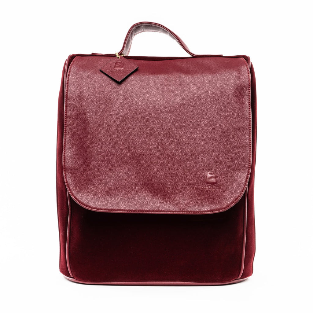 Burgundy Velour Backpack - Tote&Carry