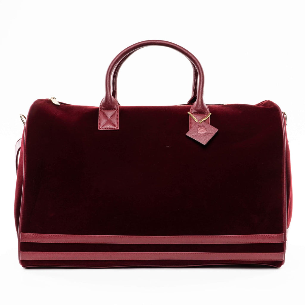 Burgundy Velour Duffle - XL - Travel Bag Tote&Carry