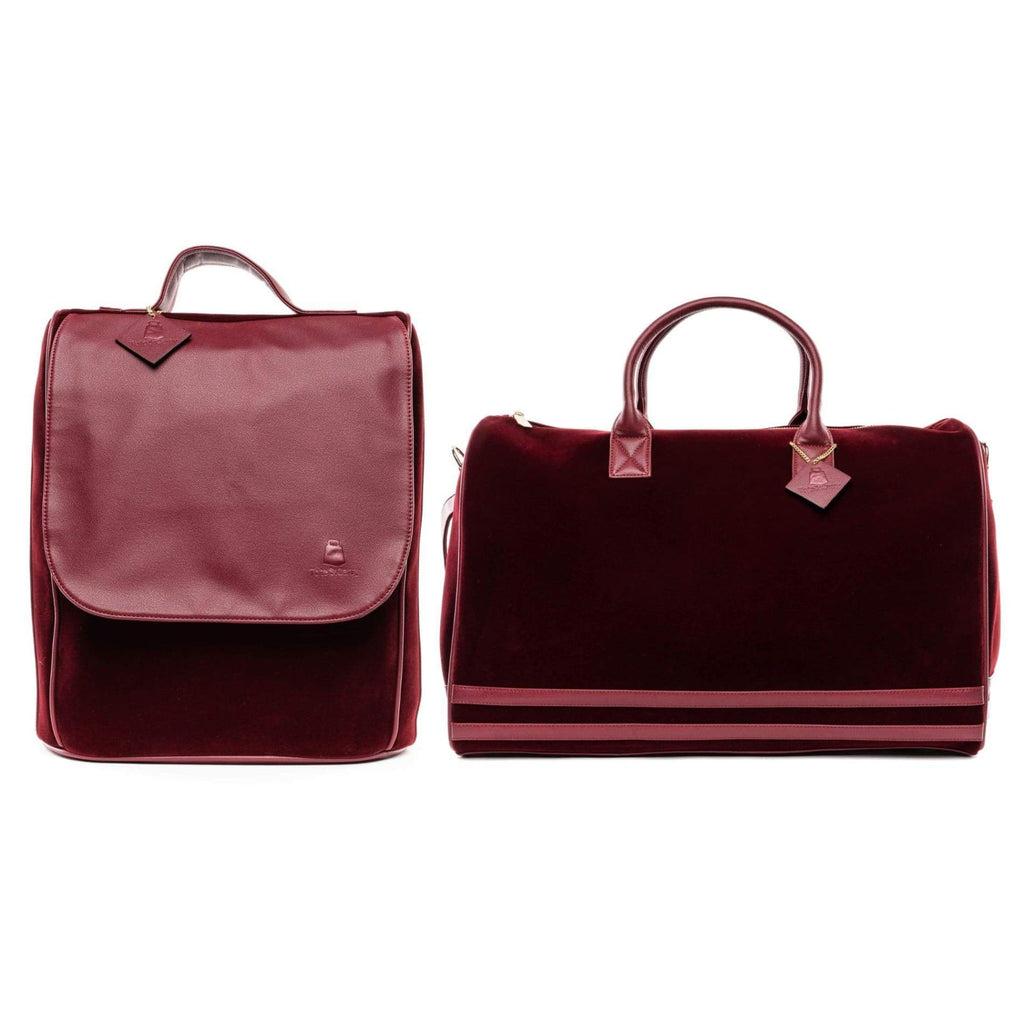 Burgundy Velour Travel Set - XL - Travel Bag Tote&Carry