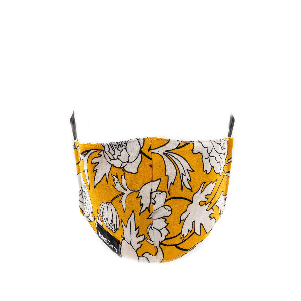 Yellow Floral Face Mask - Tote&Carry