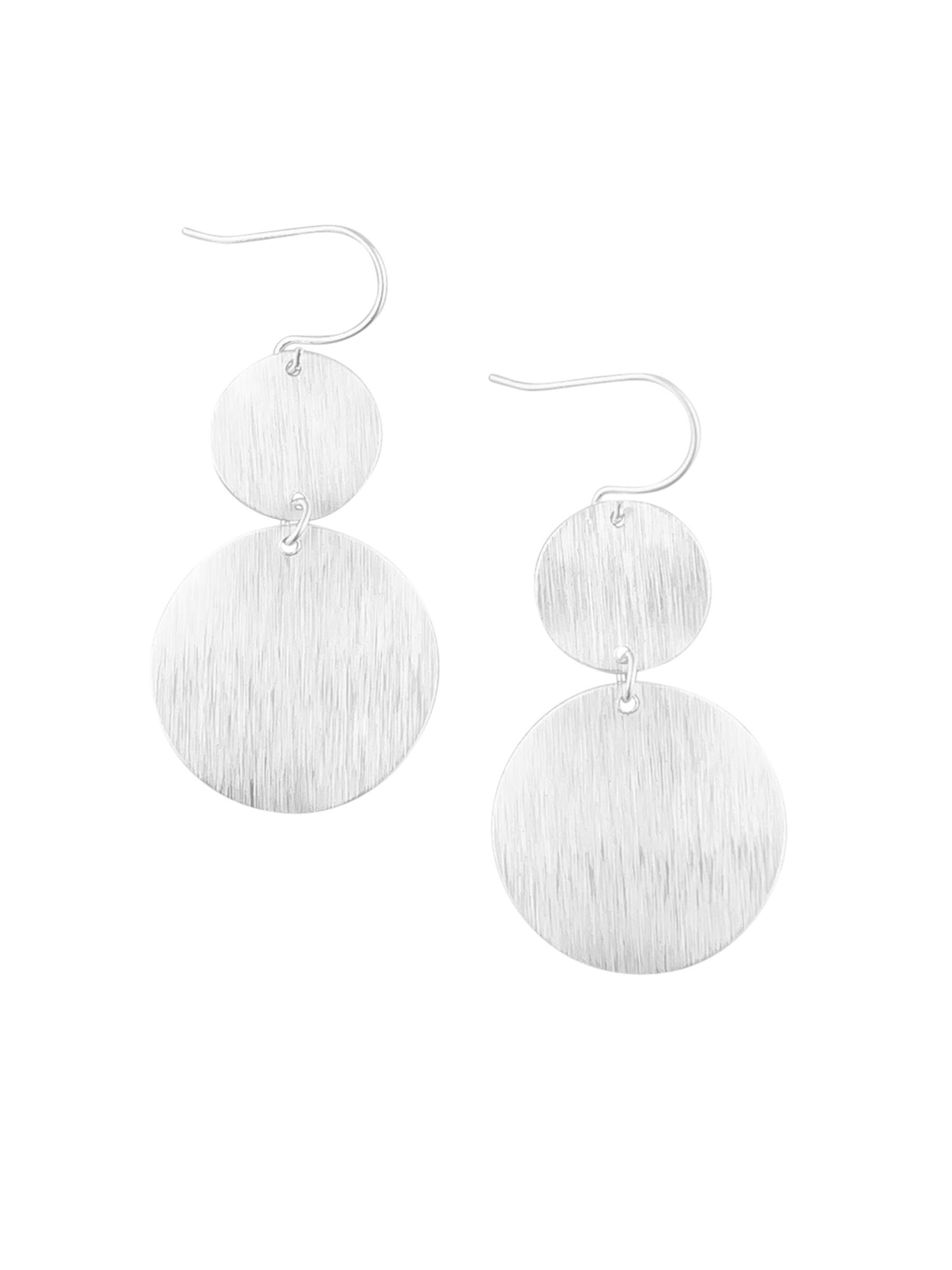 Silver Wave Double Disk Earrings