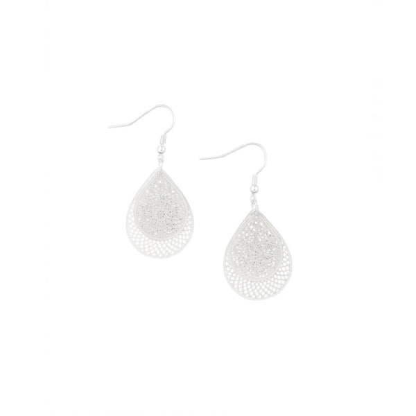 Silver Tear Drop Web Earrings