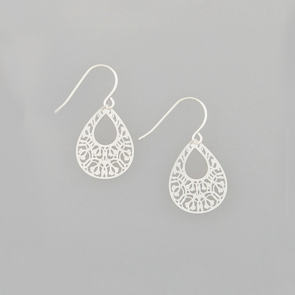 Silver Mini Filigree Teardrops