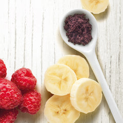 Banana and raspberries