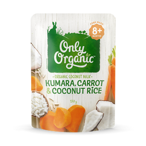 Kumara, carrot and coconut rice pouch ingredients