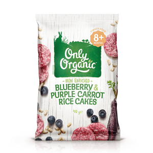 Blueberry & Purple Carrot Rice Cakes - enriched with iron
