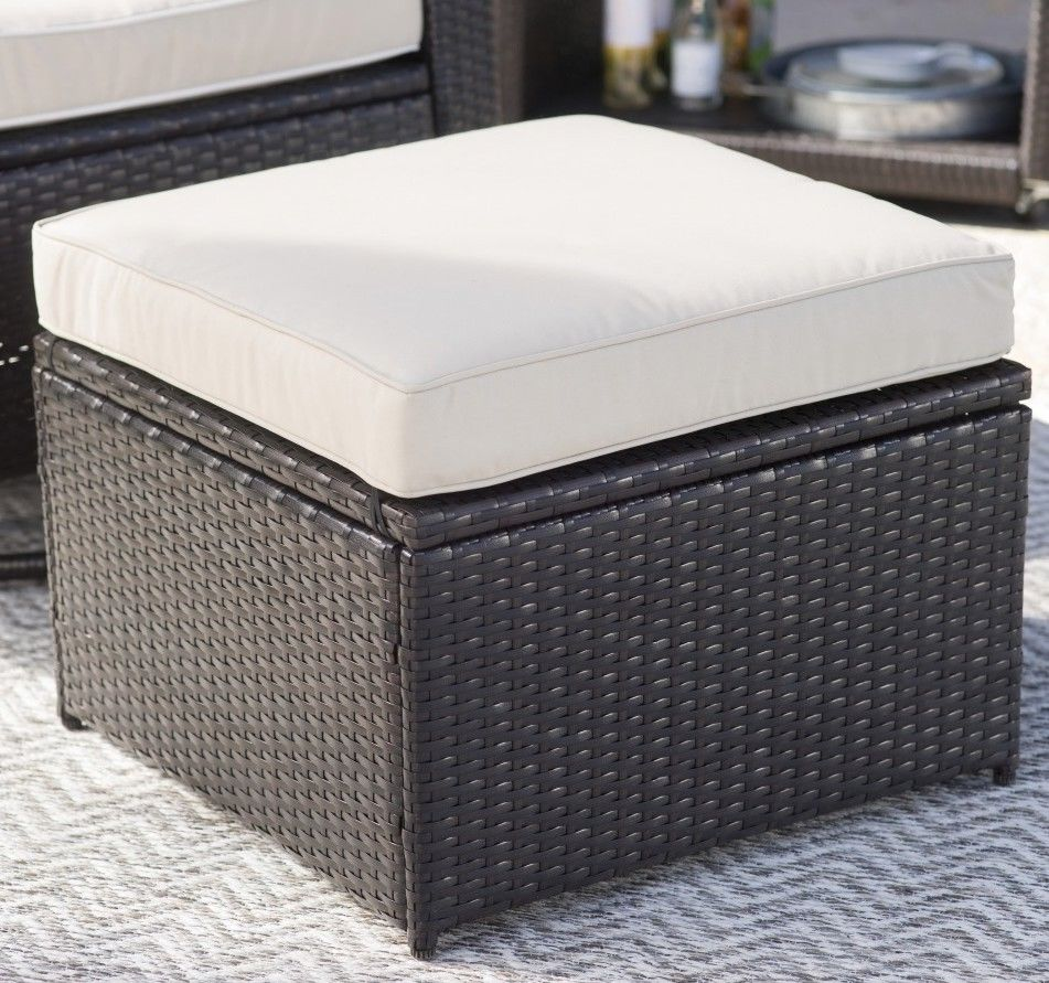 Remarkable Outdoor Storage Ottoman Resin Wicker Foot Stool Cushion Ncnpc Chair Design For Home Ncnpcorg