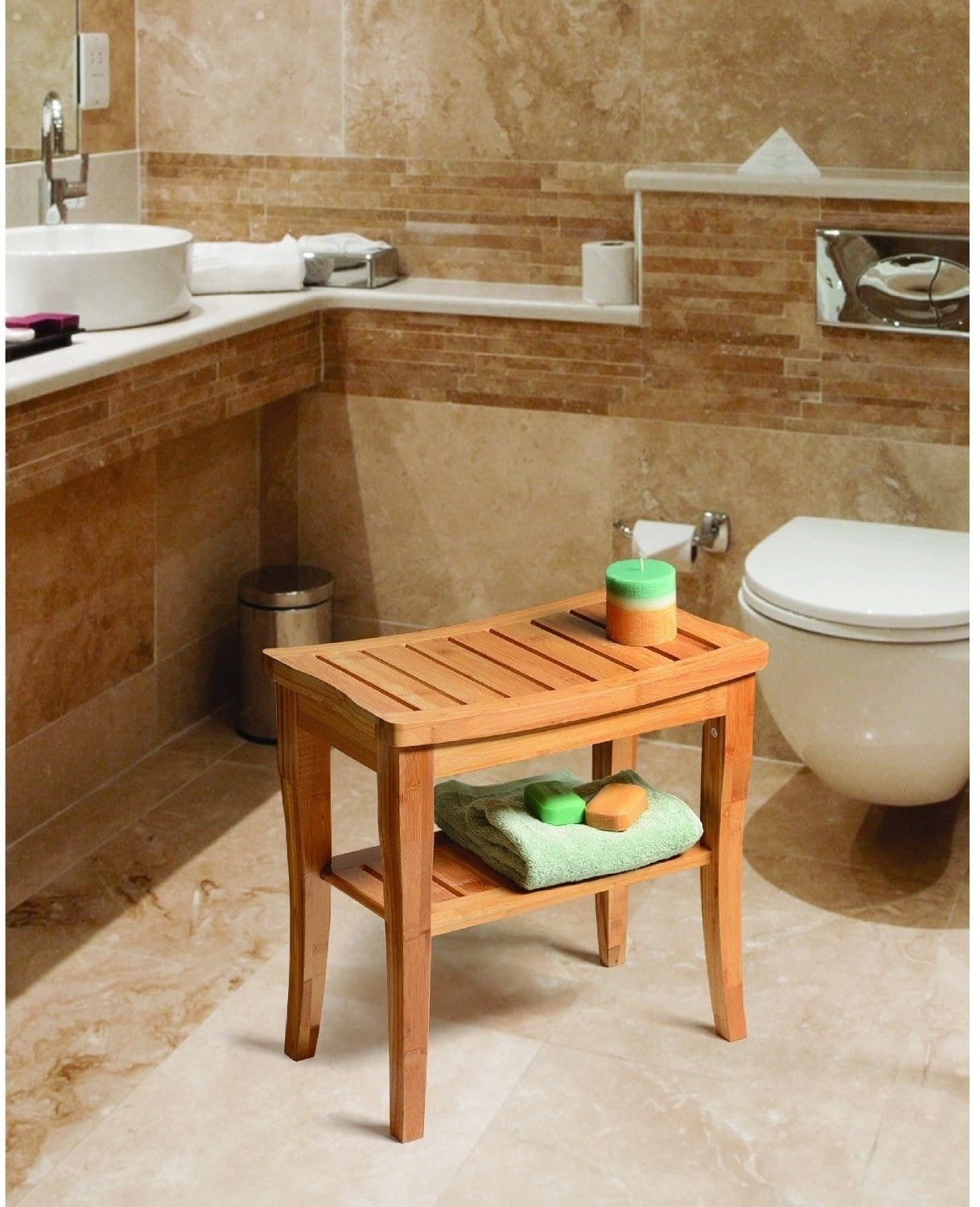 Belmint Deluxe Bamboo Shower Seat Bench With Storage Shelf – Toscano ...