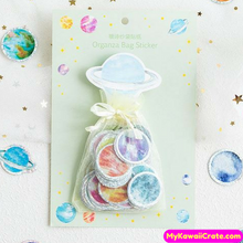 100 Pc Pack Colorful Holographic Universe Planet Stickers in Organza Bag