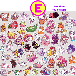 100 Pc Pack Kawaii Decorative Stickers ~ Girls Fairy Tale, Boy Girl In Love, Cute Cats, Green Plants