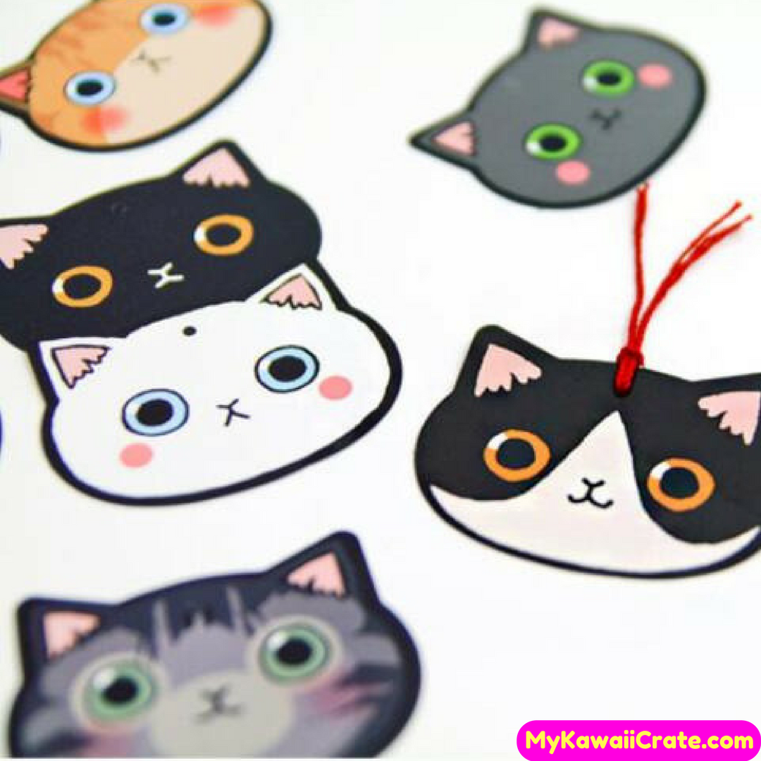 100 Pcs Set Lovely Cat Gift Tag Pack Bookmarks Kawaii Cute Cat