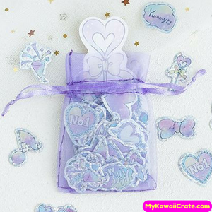100 Pc Pack Holographic Pastel Love Heart Girly Stickers in Organza Bag
