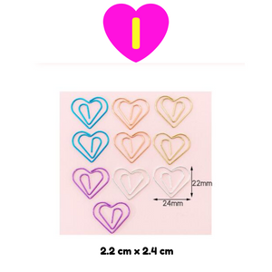 10 Pc Set Kawaii Designs Paper Clips ~ Cactus Diamond Stars Ice Cream Heart Planets Paper Clips