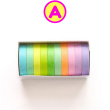 10 Pc Set Solild Colors Slim Washi Tape Set ~ Masking Tape