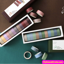 12 Pc Pack Solid Colors Write On Washi Tape Set