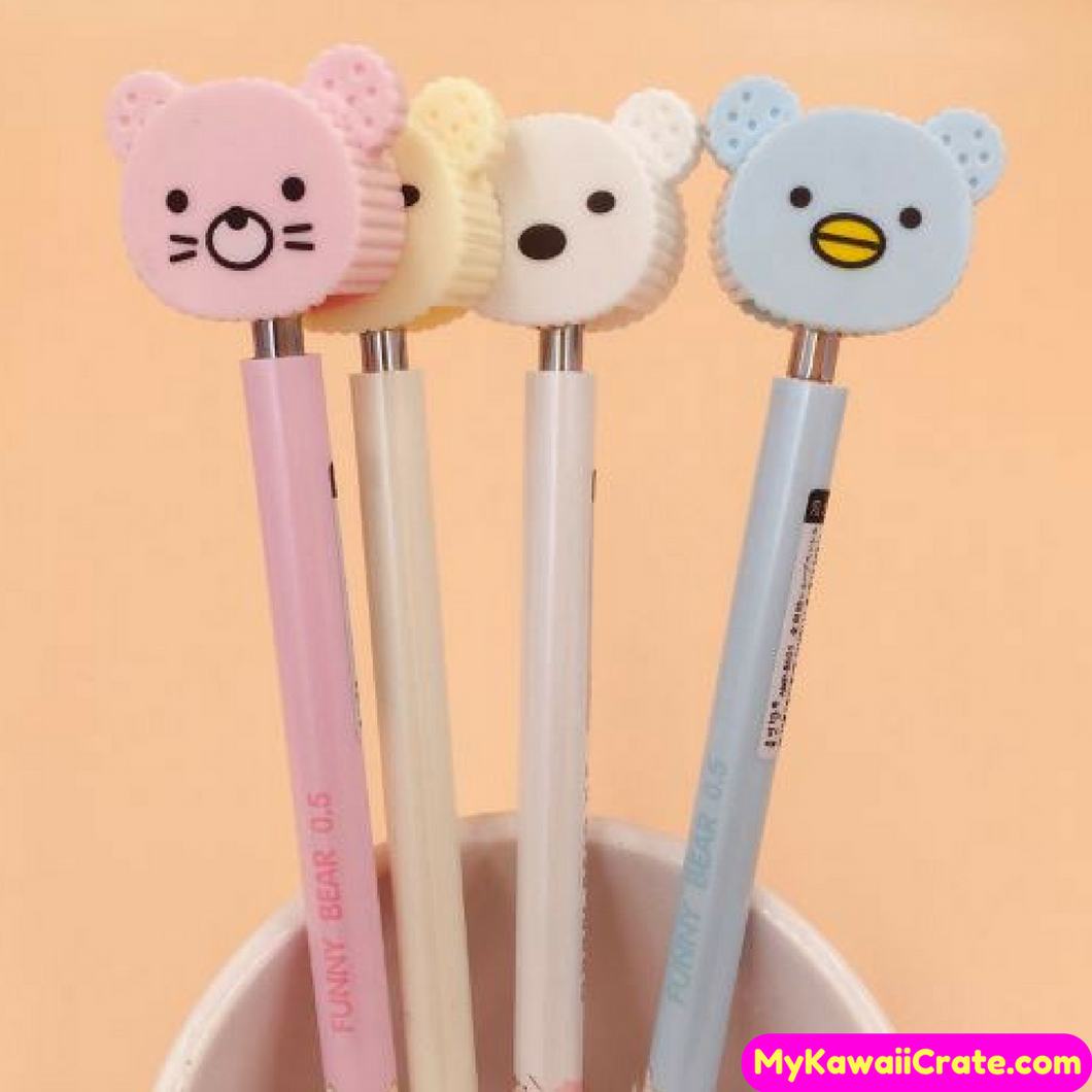 2 Pc Kawaii Funny Bear Press Mechanical Pencils