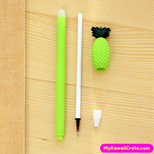 4 Pc Juicy Delicious Pineapple Erasable Gel Pens