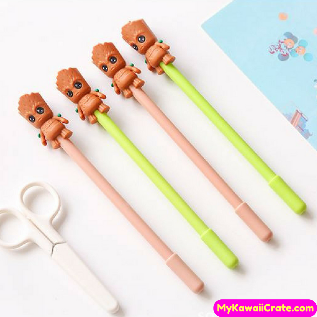 2 Pc Kawaii Cartoon Groot Superhero Gel Pens