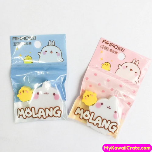 2 Pc Kawaii Chubby Molang Rabbit Erasers