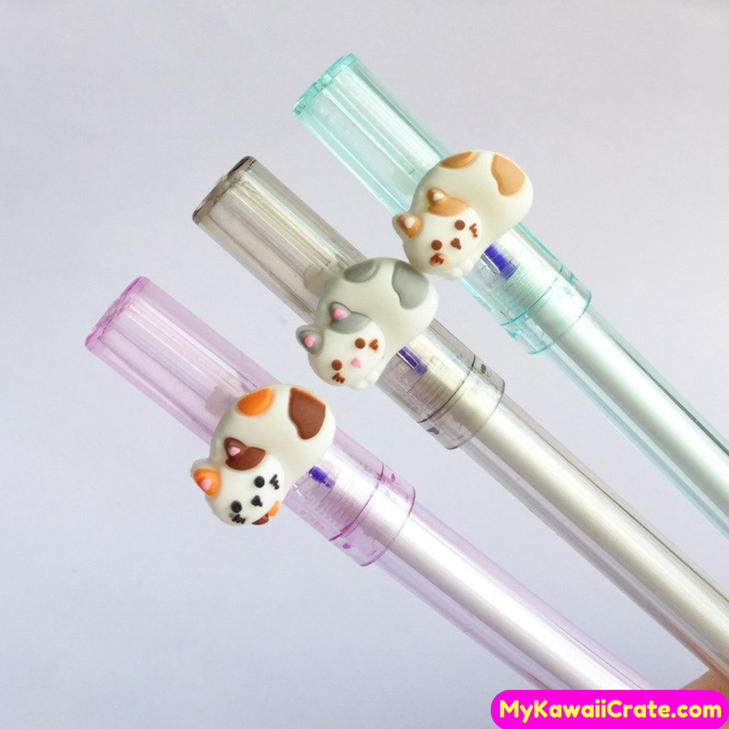 2 Pc Kawaii Meow Cat Erasable Gel Pens