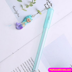 2 Pc Cute Mermaid Baby Fish Pendant Gel Pens