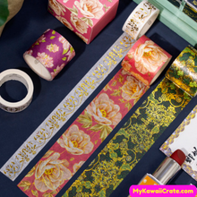 2 Pc Pack Beautiful Flower Flying Crane Golden Foil Washi Tape