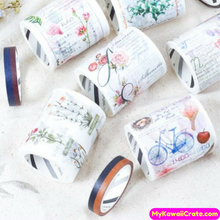 2 Pc Pk Flower Notes Washi Tape Set / Floral Masking Tape