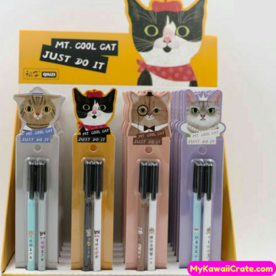 2 Pc Pack Cool Cat Japanese Funny Cats Pen Set