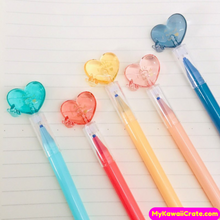 2 Pc Romantic Love Crystal Heart Erasable Gel Pens