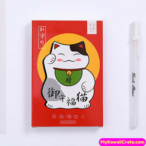 Happy Blessing Good Luck Maneki-neko Cat Post Cards 30 Pc Set