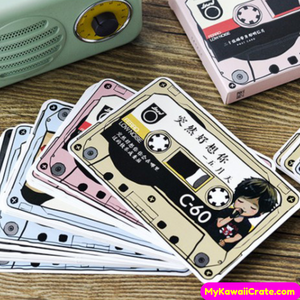 30 Pc Retro Cassette Tape Mini Postcards ~ Rewind Time Audio Cassette Style Cards