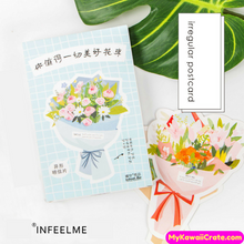 Romantic Flower Bouquet Mini Postcards / Floral Greeting Cards