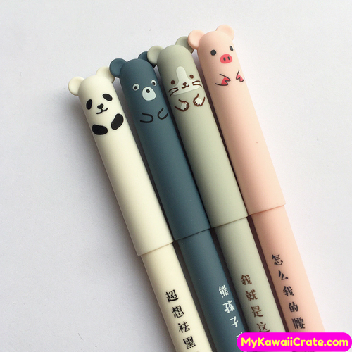 4 Pc Adorable Animals Velvet Feel Erasable Gel Pens
