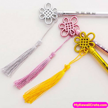 3 Pc Chinese Style Fringed Pendant Key Gel Pens