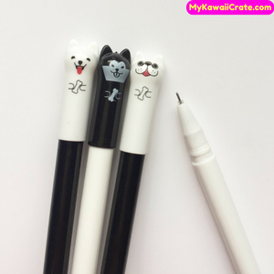 3 Pc Cute Kawaii Puppy Dog Rollerball Gel Pens
