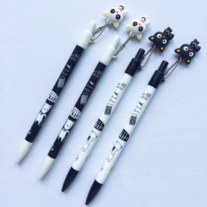 2 Pc Lovely Cute White Black Cat Kitten Press Mechanical Pencils