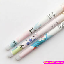 3 Pc Kawaii Pastel Watercolored Crystal Head Gel Pens