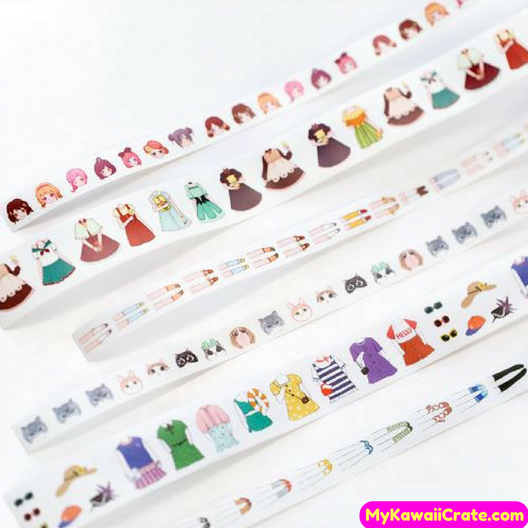 3 Pc Pack Girly Fashion Girl & Meow Cat in Clothes Washi Tape / Masking Tape Set