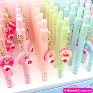 3 Pc Sweet Strawberry Donut Pendant Mechanical Pencils