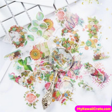 40 Pc Pack Blooming Flowers and Leaves Stickers