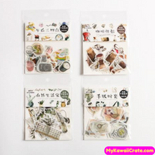 40 Pc Pack Lazy Afternoon Coffee Time Plants Zakka Stickers